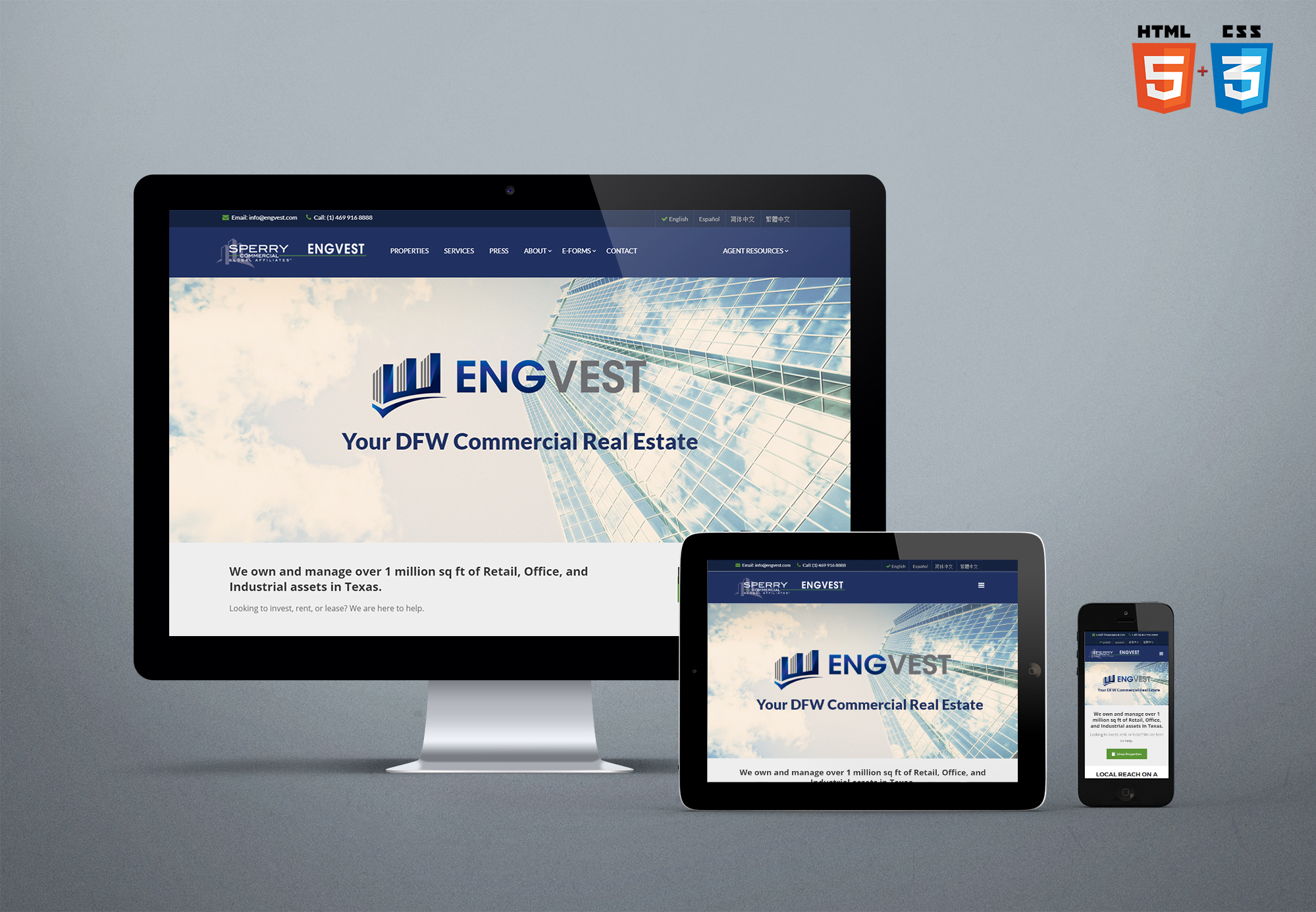 Engvest 1: Responsive and mobile-friendly webiste in four languages